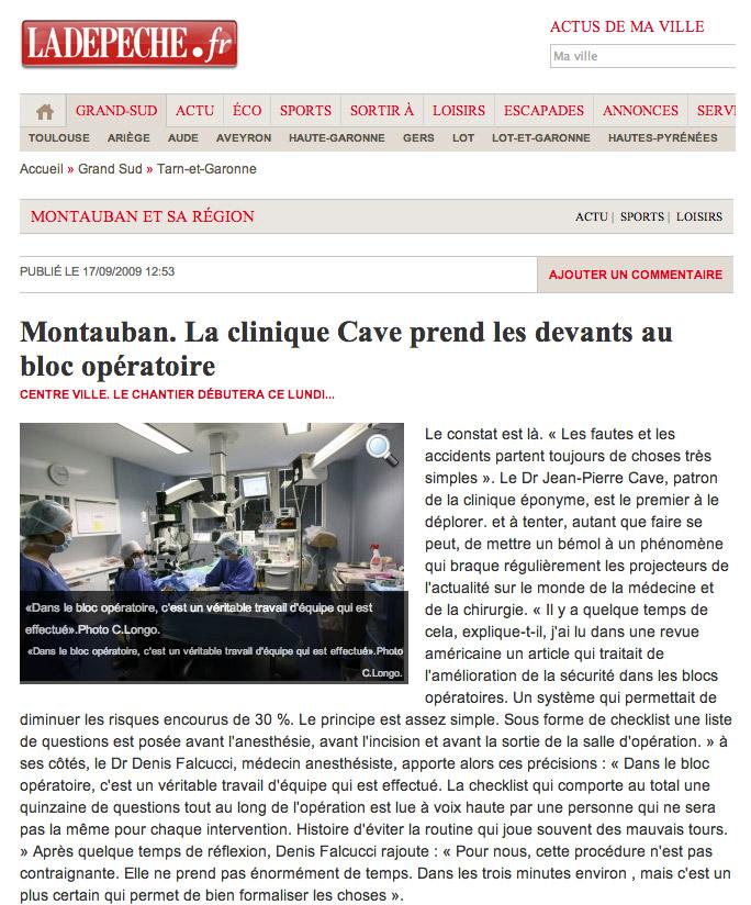 LA DEPECHE - 17/09/2009 - Clinique Honoré Cave