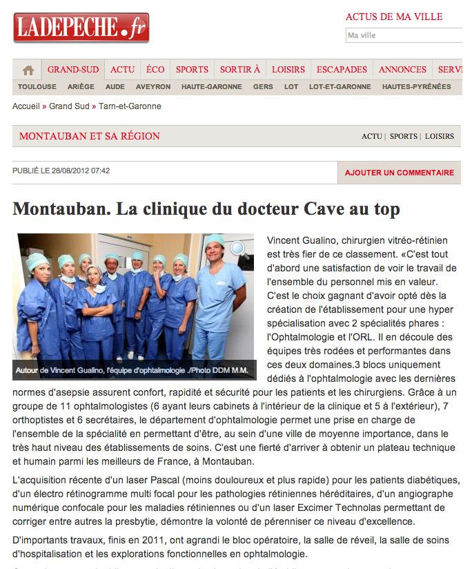 La DEPECHE - 28/08/2012 - Clinique Honoré Cave