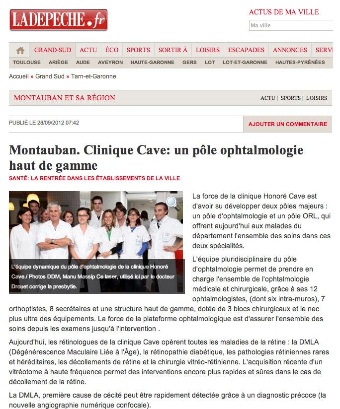 La DEPECHE - Clinique Honoré Cave