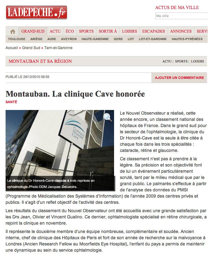 La DEPECHE 29/12/2010 - Clinique Honoré Cave